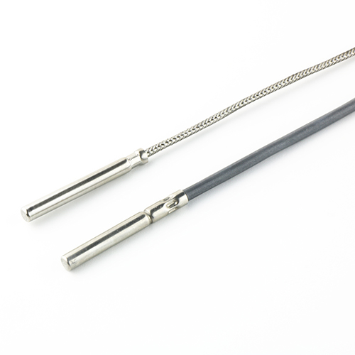 Two cable probes with metallic protection tube, one with fiberglass cable and one with TPE cable