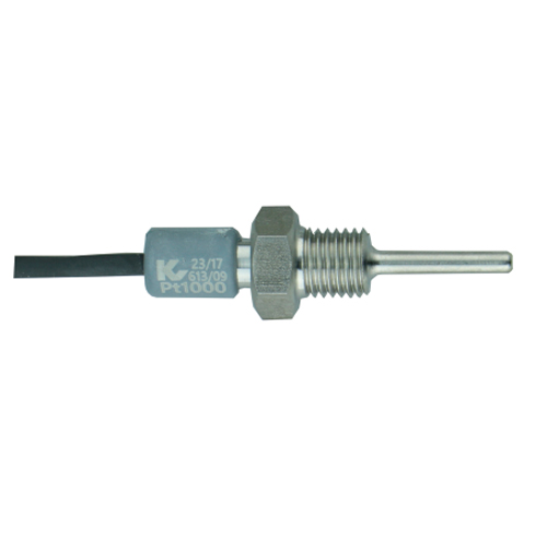 Screw-in boiler probe with Pt1000 and moulded cable transition and M10 connection thread