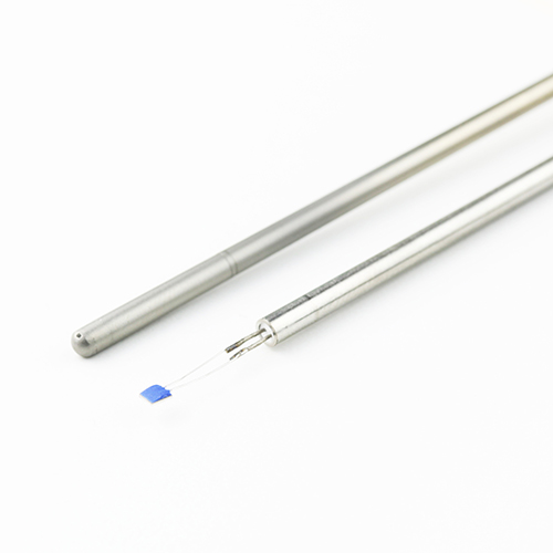 A Pt100 and Pt1000 sensing element mounted to a mineral insulated probe.