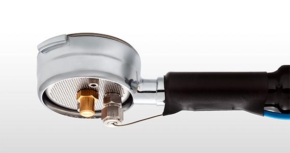 An Italcoppie brewing temperature probe mounted onto a portafilter